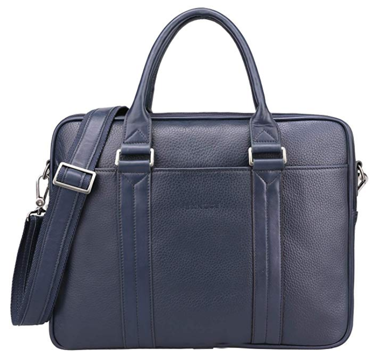 Banuce Blue Leather Messenger Bag