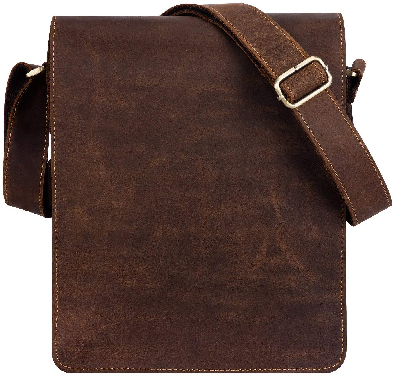 Kattee Vintage Cow Leather Flapover Messenger Bag