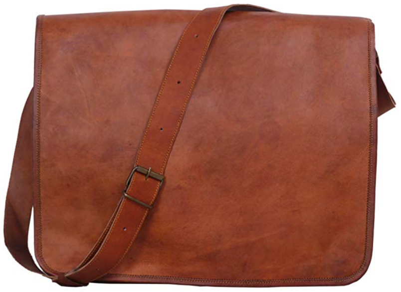 Komal's Passion Leather Vintage Mens 16 Inch Leather Laptop Messenger