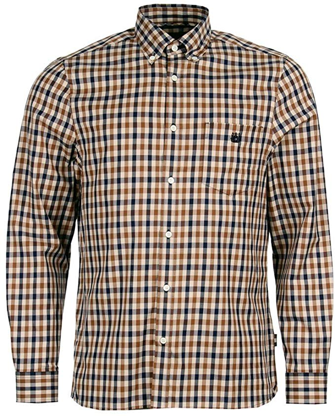 Aquascutum brown checkered shirt