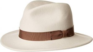 Bailey's white men's curtis hat with brown colour ribbon lining