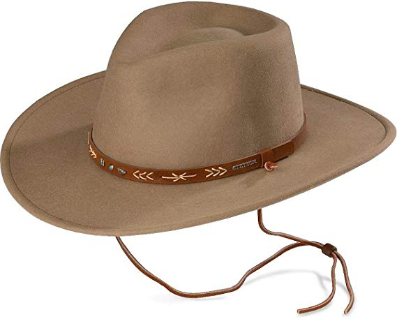 Steson Mens Santa Fe Crushable Wool Hat with chin strap