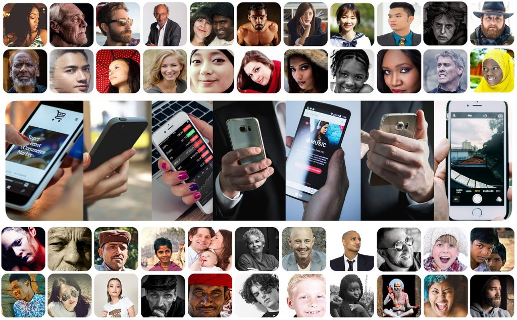 photo montage of different people's faces and hands holding smartphones