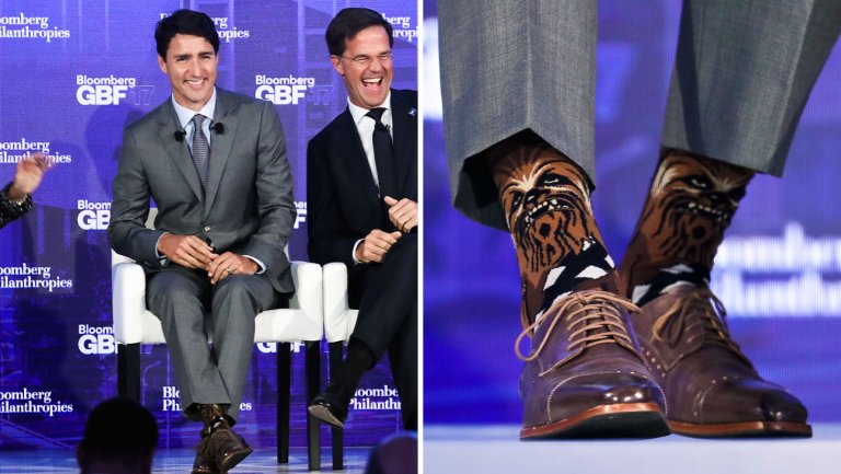 Justin Trudeau wearing Chewbacca socks at the Bloomberg Global Business Forum