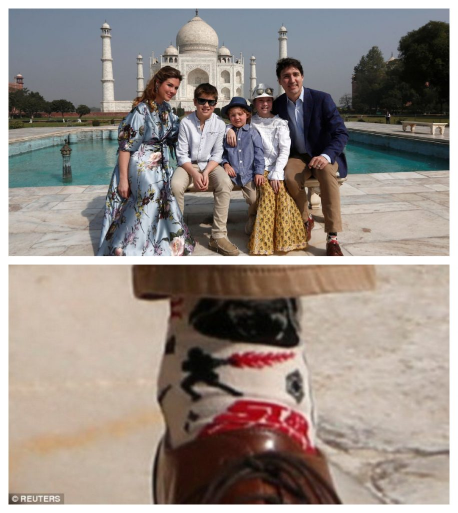 Justin Trudeau and family at the Taj Mahal, focus on his Darth Vader socks