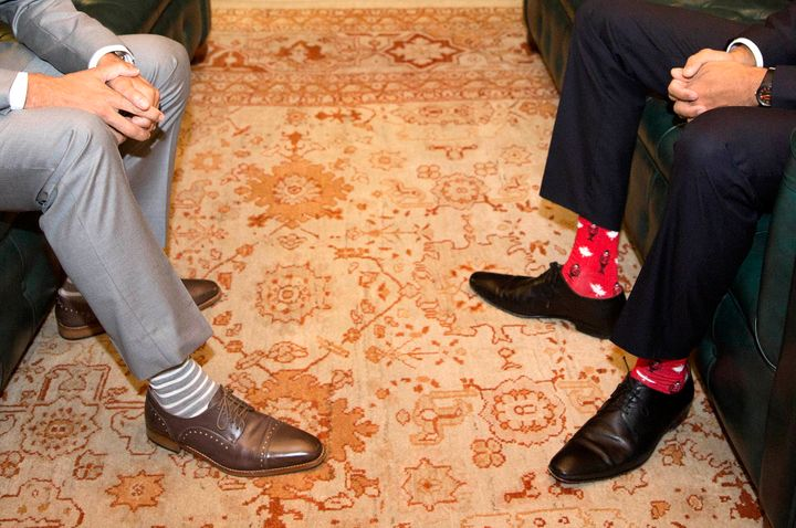 Close-up on Justin Trudeau's and Leo Varadkar's shoes and socks