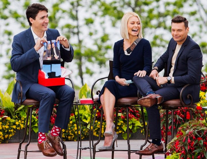 Justin Trudeau with TV hosts Kelly Ripa and Ryan Seacrest