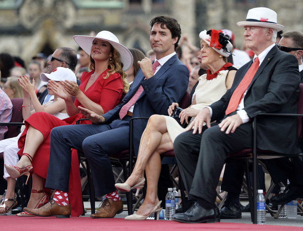 Justin Trudeau at Canada Day with his maple leaf socks