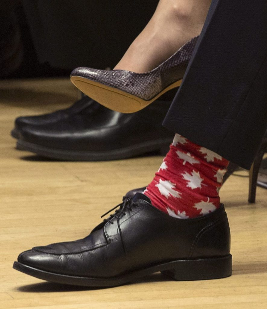 Close-up on Justin Trudeau's maple-leaf socks