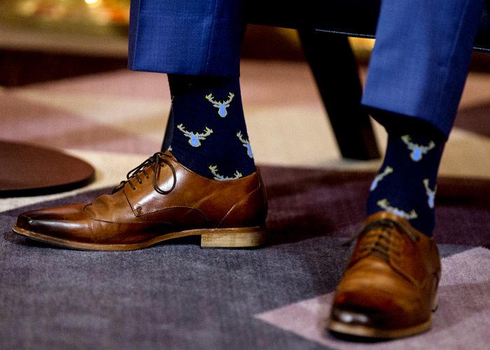 Close-up on Justin Trudeau's moose socks