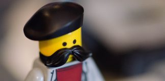 Lego figurine with a big mustache. Follow the Movember rules to show your support for Movember!
