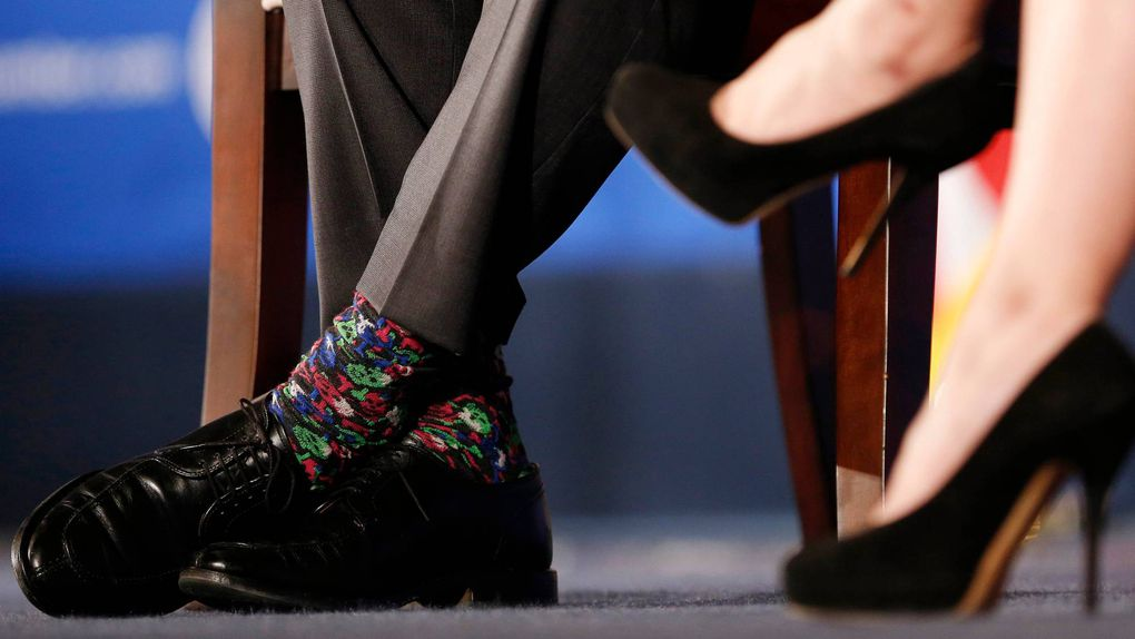 Close-up on Justin Trudeau's colorful skull socks