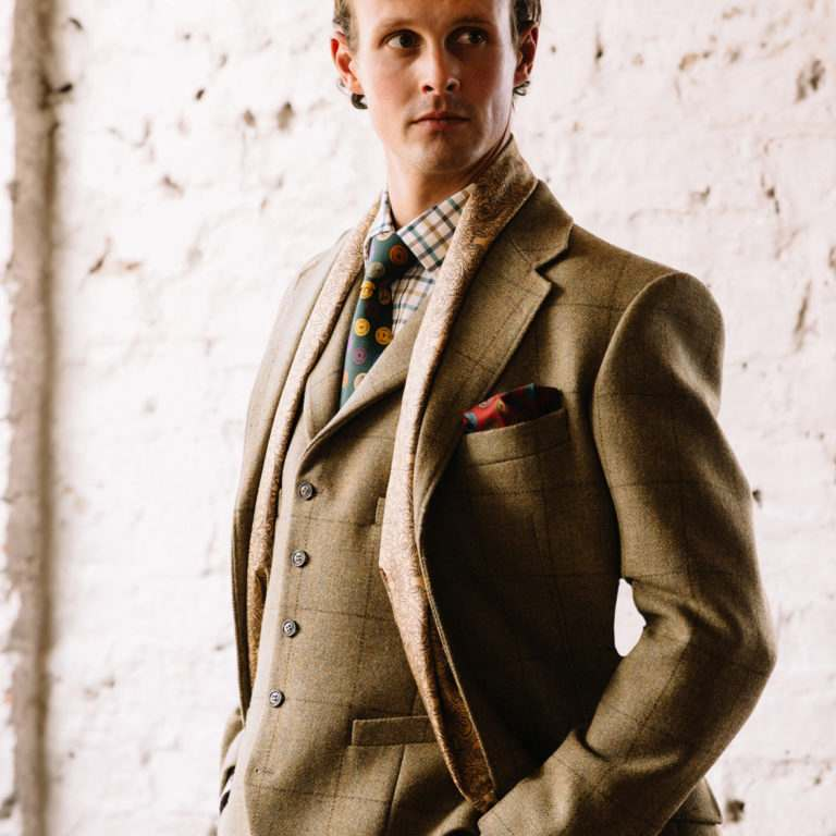 Cordings Mens Wool Jacket in Khaki