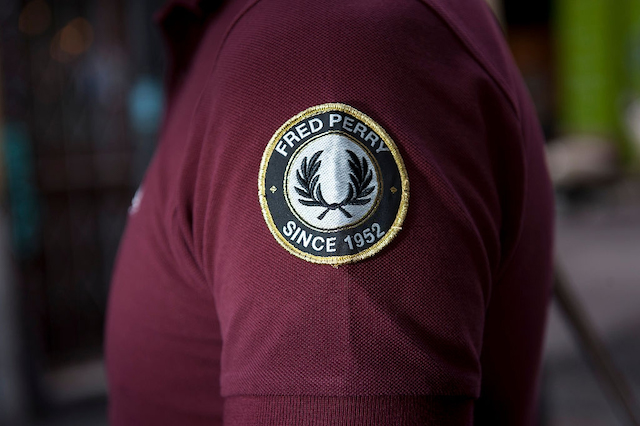 Maroon Red Fred Perry logo collared shirt
