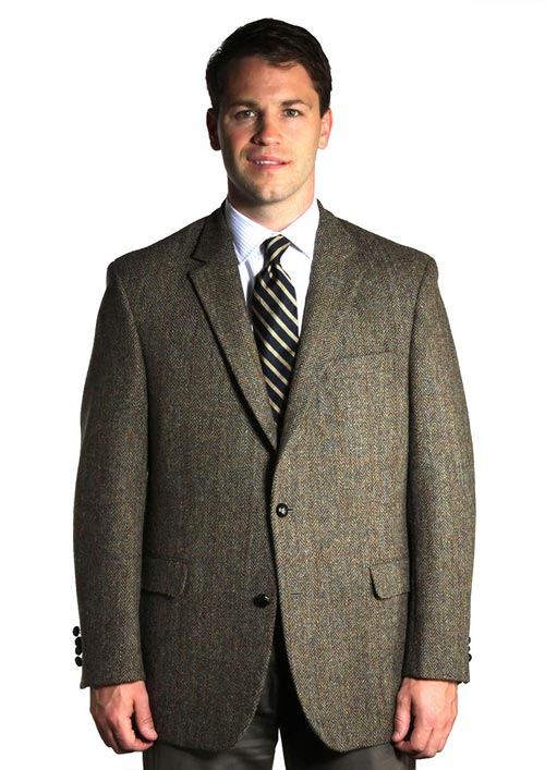 Harris Tweed Sport Coat - Olive Windowpane