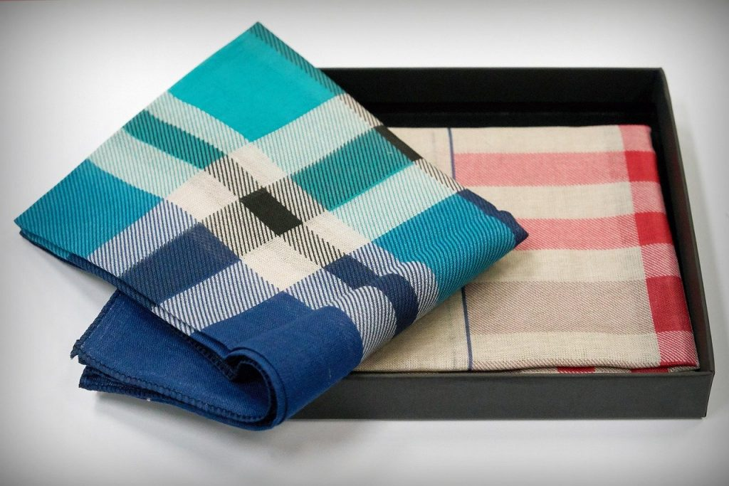 Pocket squares are mostly made from cotton, but can be made from other materials like linen and silk too