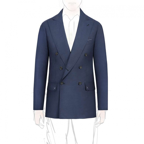 Rubinacci Blue Hopsack Wool Unlined Blazer