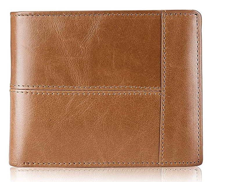 Swallowmall Mens Wallet RFID Genuine Leather Bifold Wallets