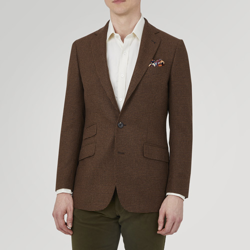 Turnbull And Asser Brown Check Cashmere Jacket
