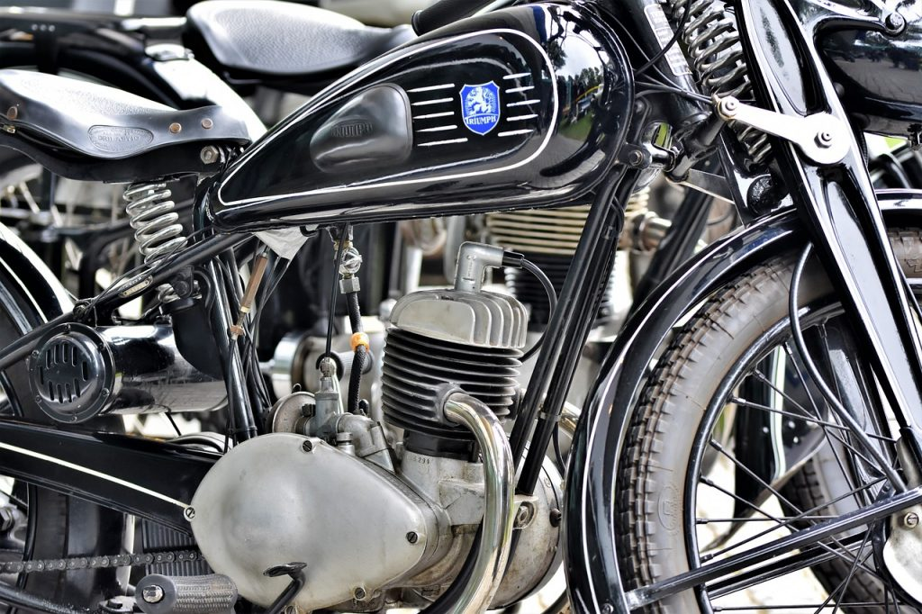 engine of a Triumph motorcycle