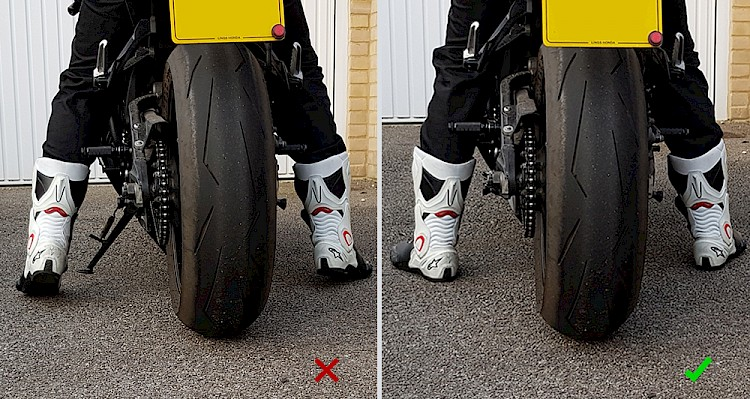 bad and good examples of how a rider's feet should be touching the ground when seated on a motorcycle