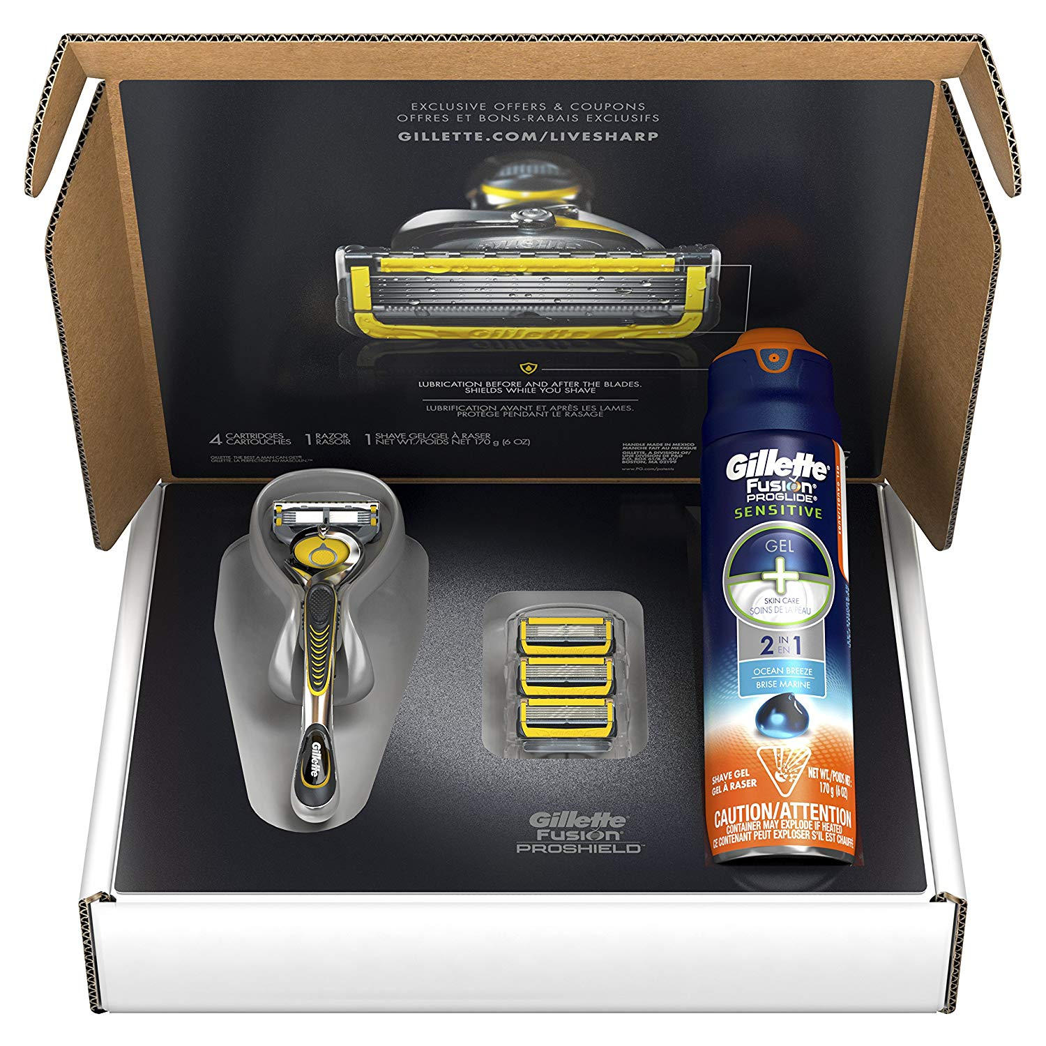 Gillette Fusion ProShield Bundle, Pre-packaged Shaving Essentials