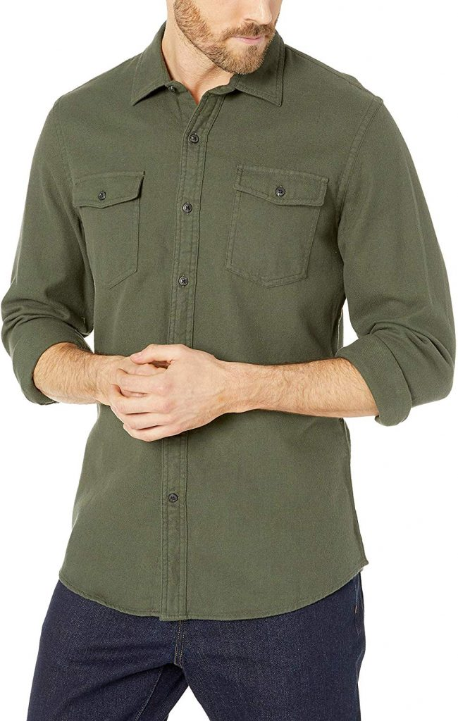 Amazon Essentials Men's Slim-Fit Long-Sleeve Solid Flannel Shirt