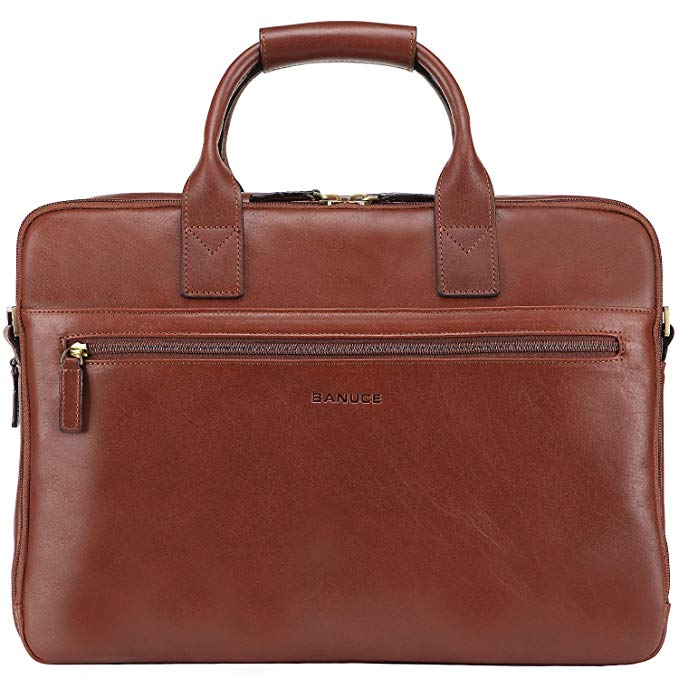 Banuce Vintage Full Grains Italian Leather Briefcase