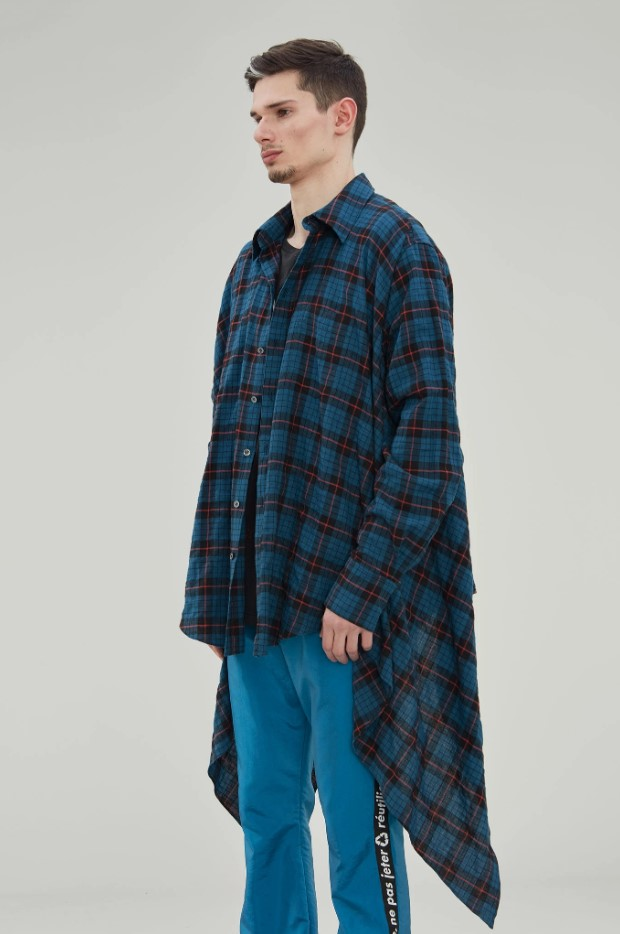 Faith Connexion Asymmetric Checkered Shirt