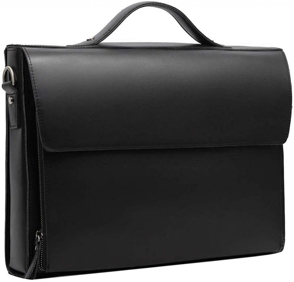 Leatherio Men's Shoulder Leather Laptop Briefcase