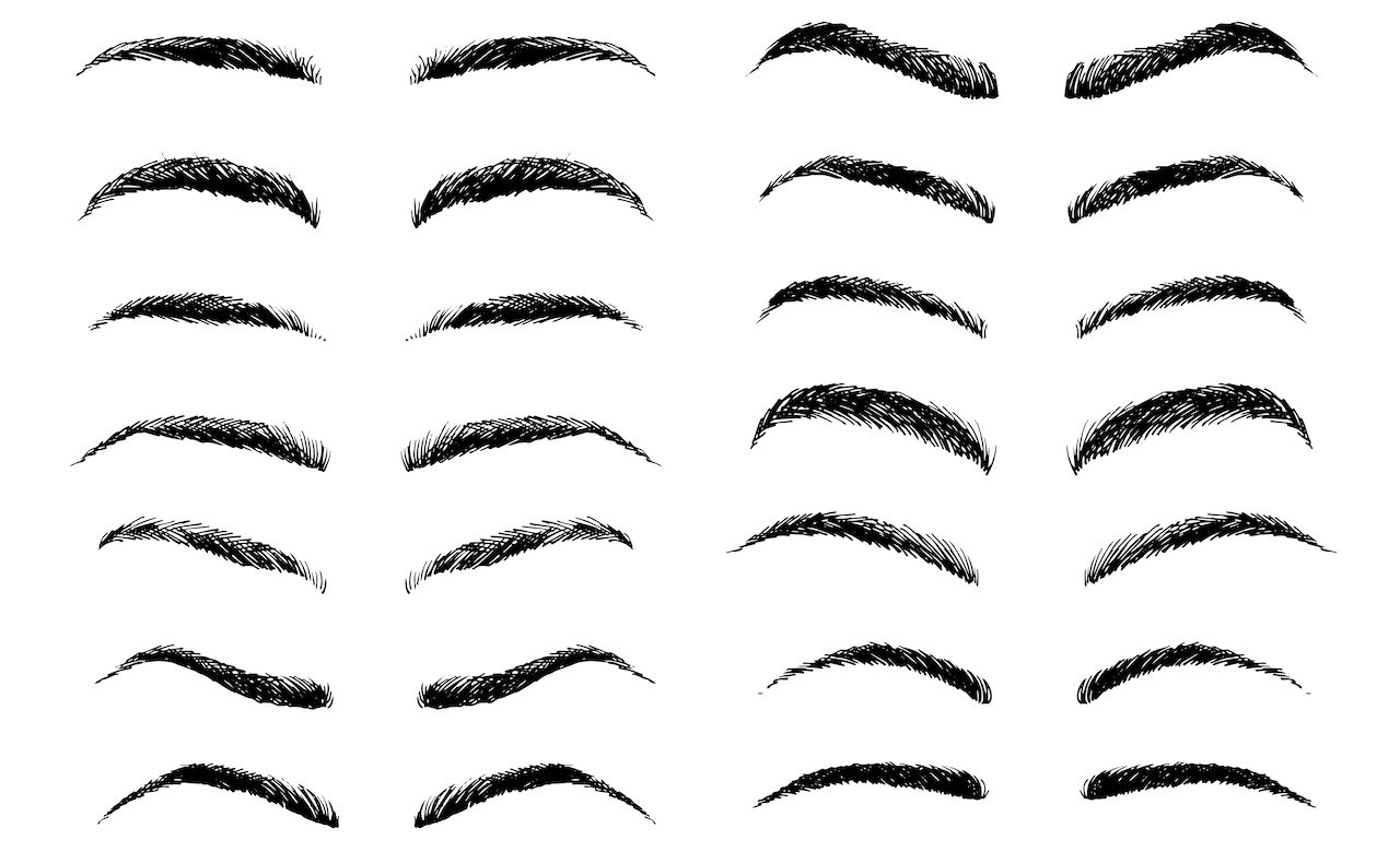 An illustration of different types of Men's Eyebrows.