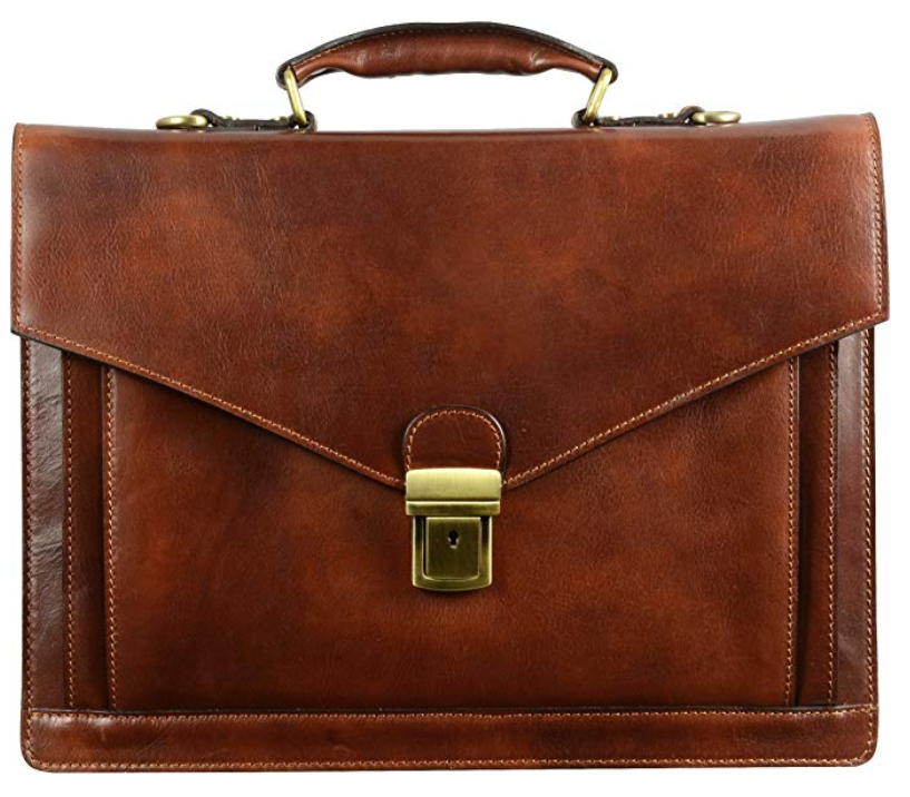 Time Resistance Leather Briefcase