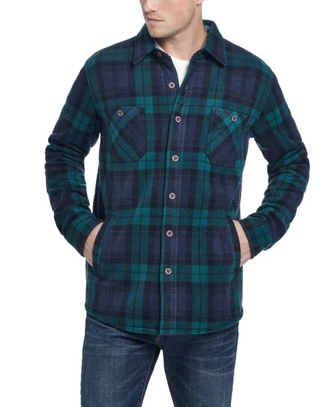 Weatherproof Vintage Plaid Polar Fleece Flannel Shirt
