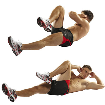 man doing air bicycle crunches