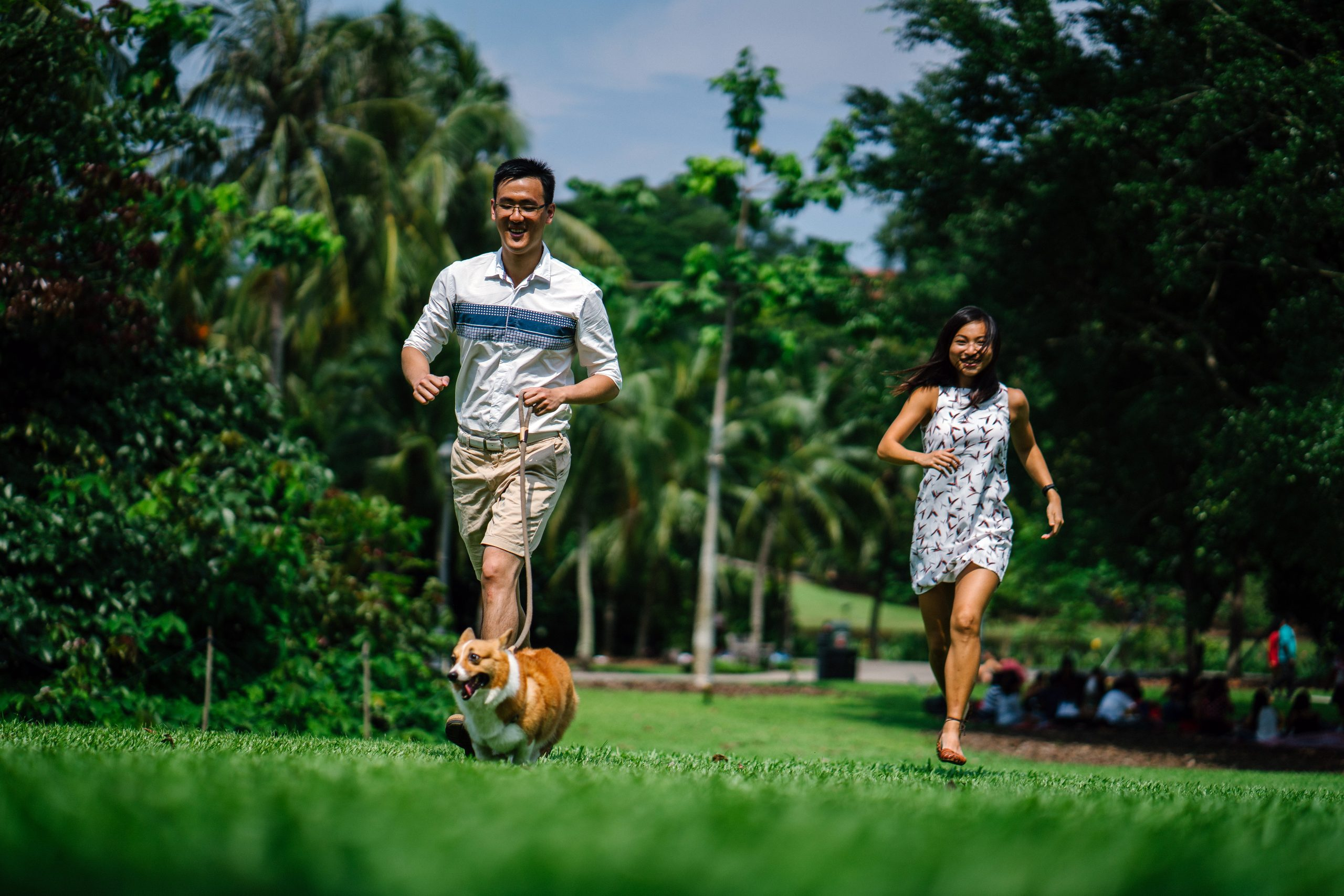 couple running after a dog in a park