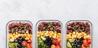 meal prep meals in 3 glass containers