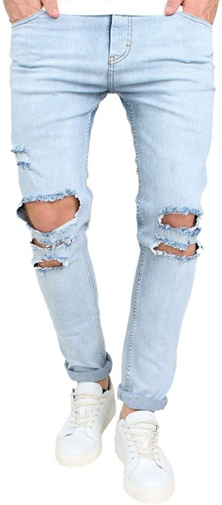 OKilr Pjik Vintage Skinny Fit Destroyed Cotton Denim Jeans
