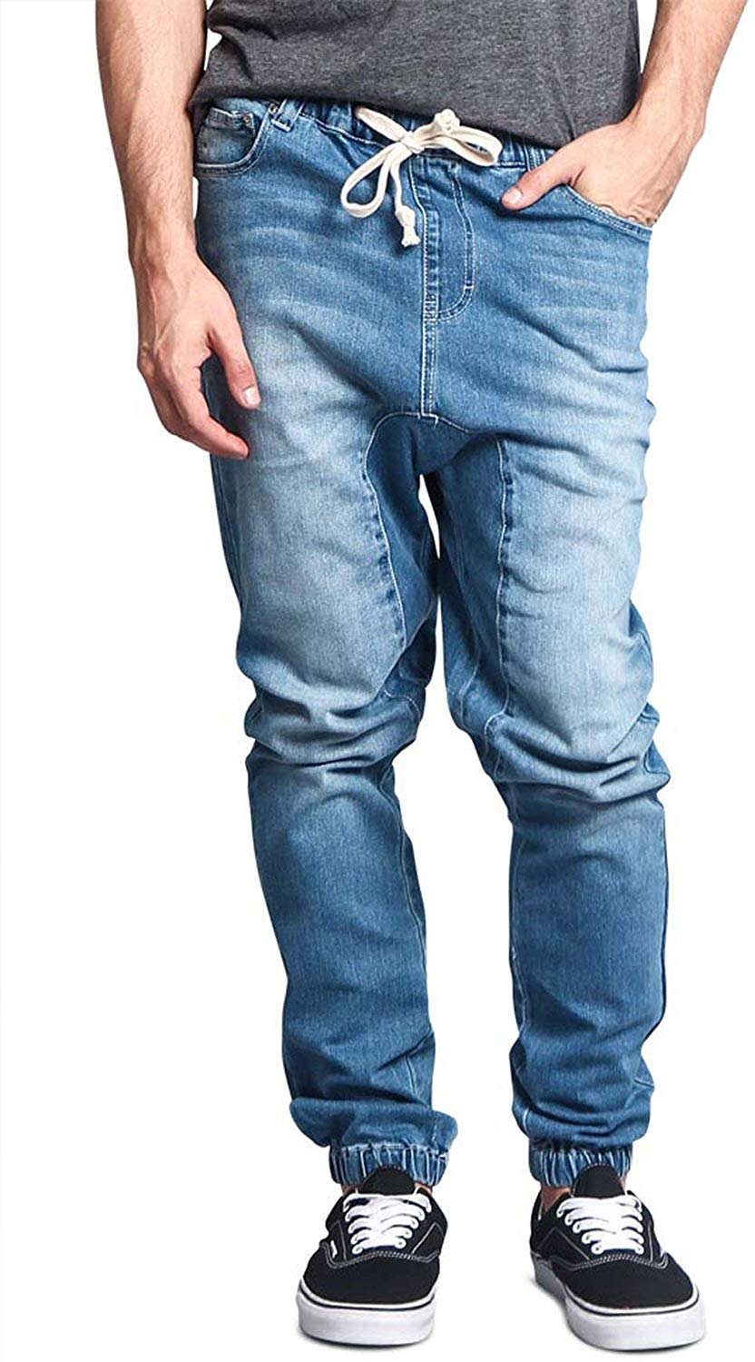 Victorious Mens Drop Crotch Joggers Denim Jean Pants