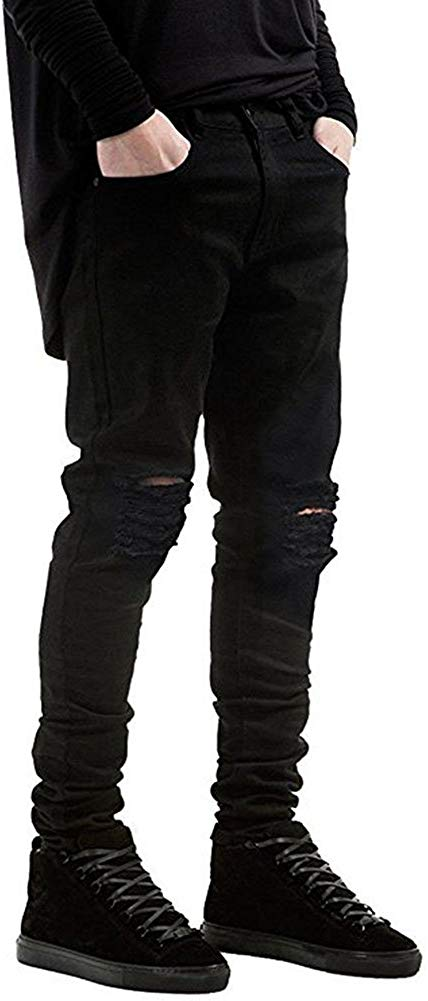 Qazel Vorrlon Men's Slim Fit Stretch Ripped Skinny Jeans