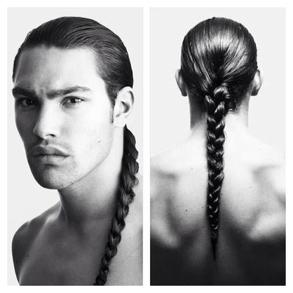 black and white picture of a man with a long braid from front and back view