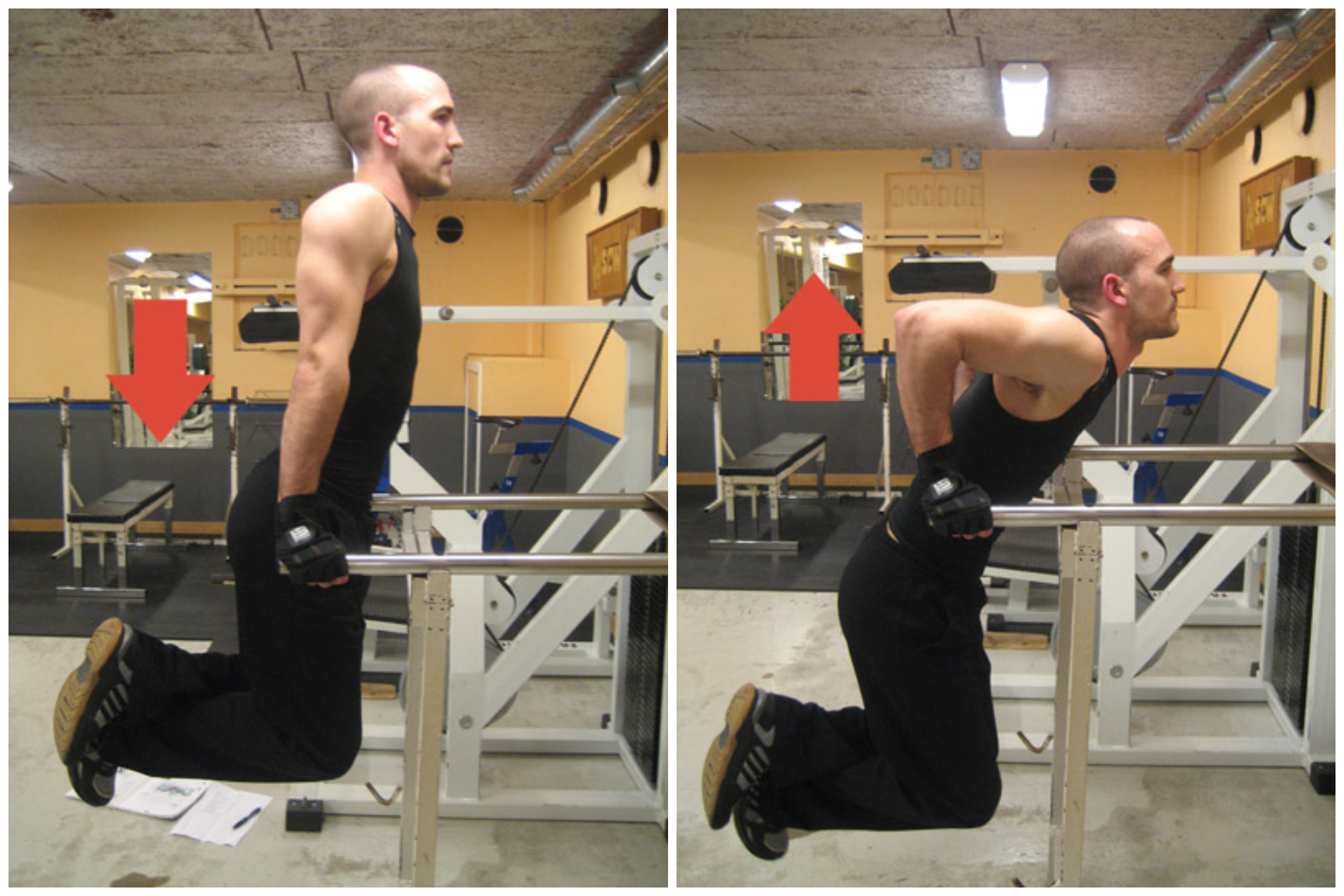Man demonstrating how to do dips on a dip bar in a gym