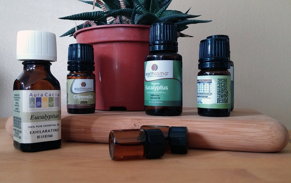 Bottles of essential oils used in aromatherapy