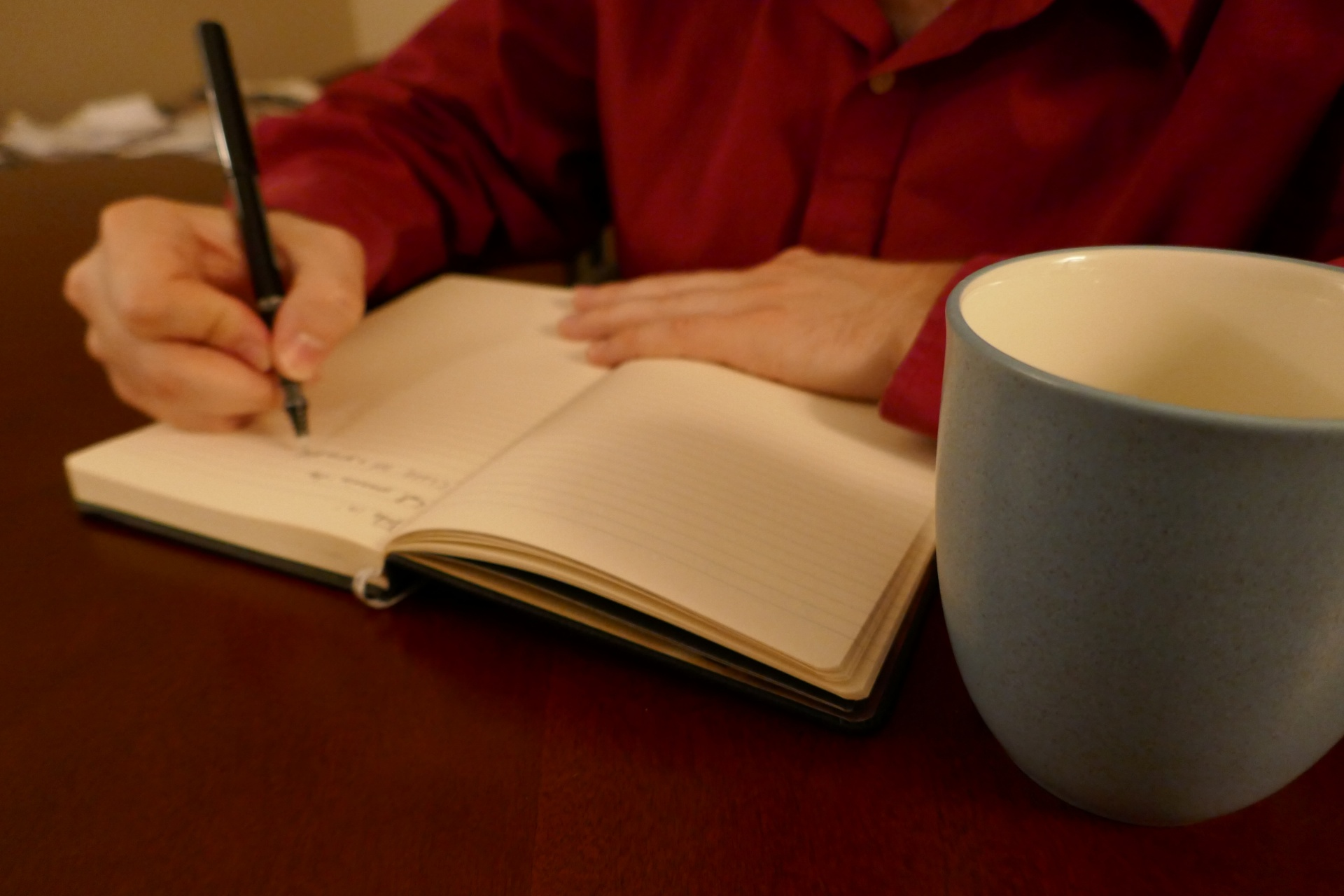 blurred shot of a person in a red shirt writing in a journal with a blue coffee mug in focus, journal writing, diary, coping strategies
