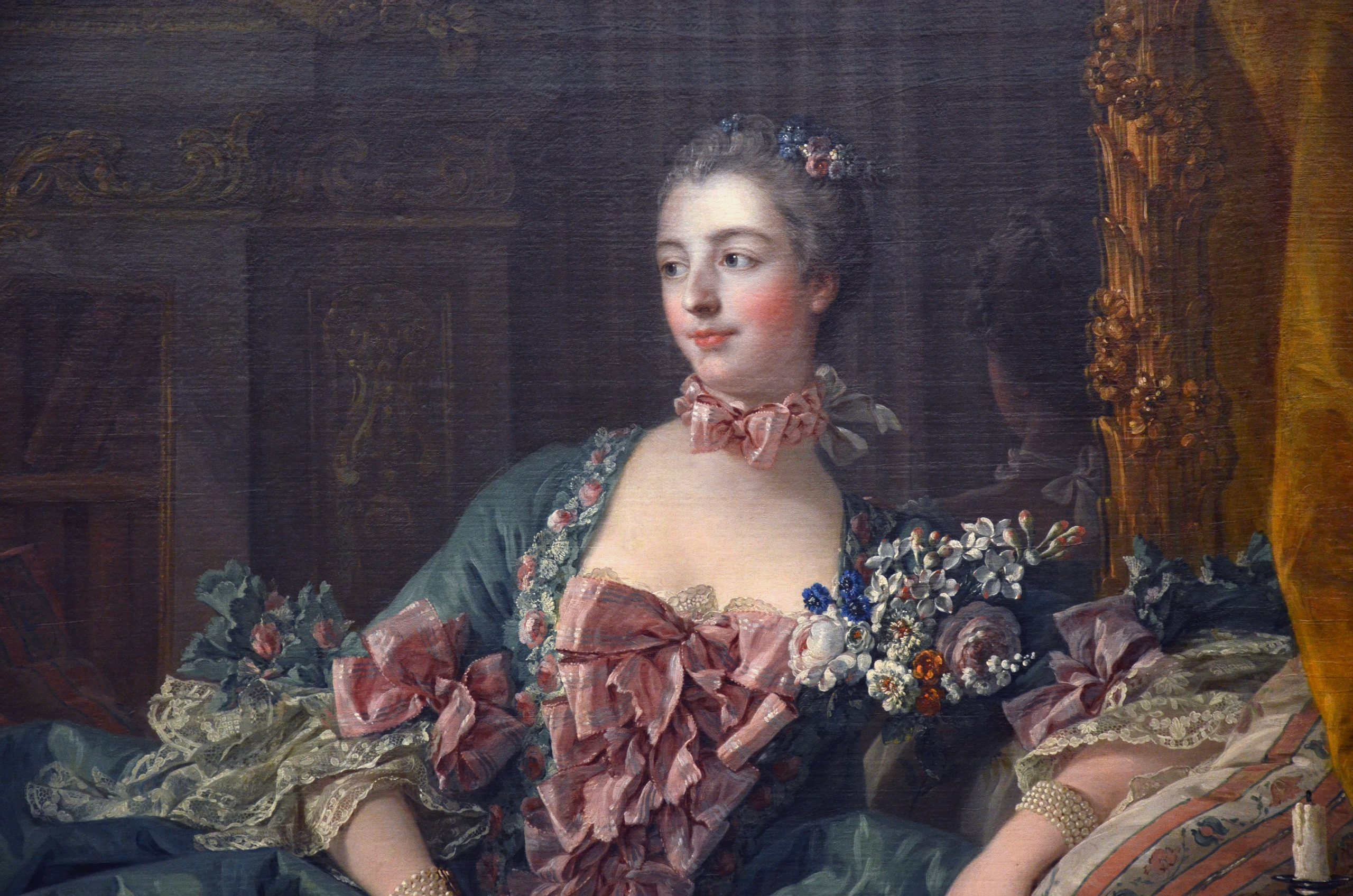 a cropped portrait of Madame de Pompadour by François Boucher (1756)
