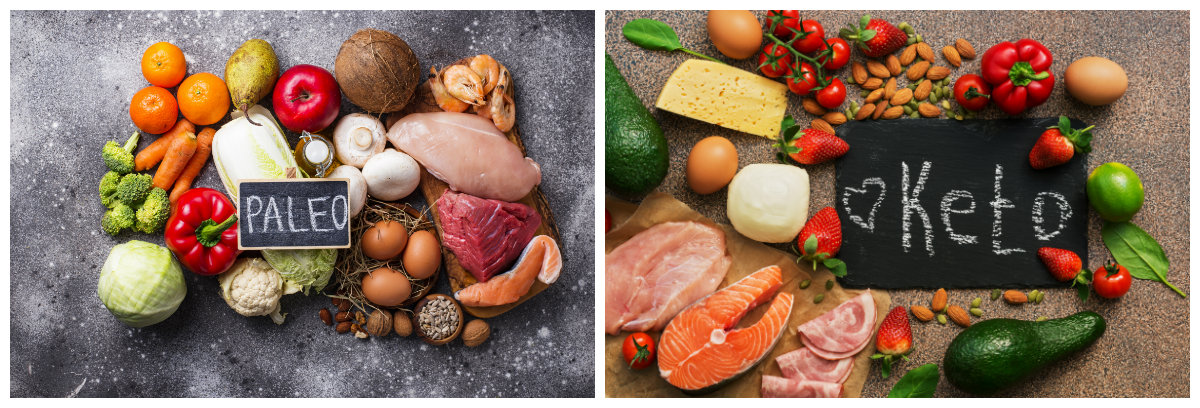 side by side comparison of the different foods for the paleo and keto diets