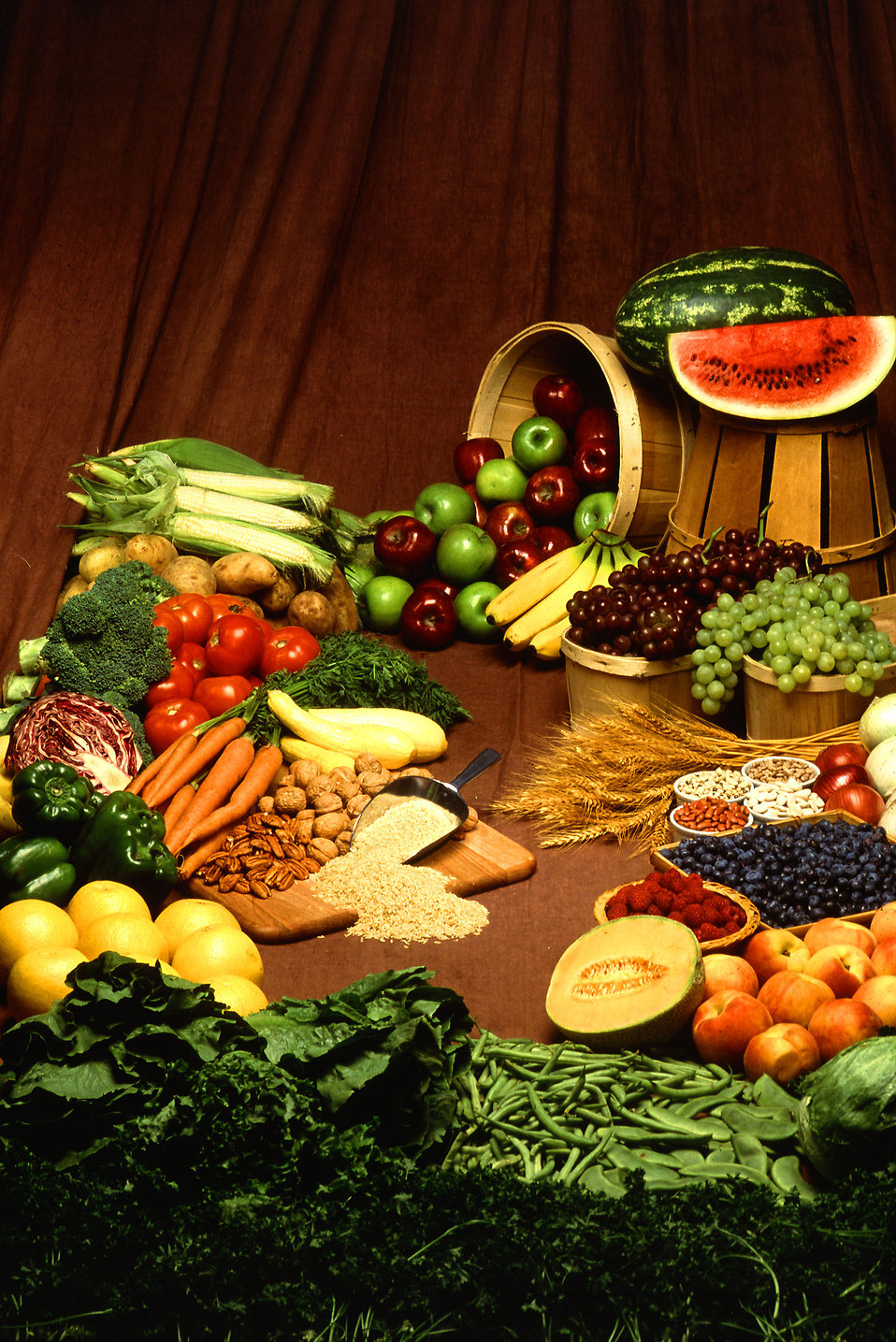 a spread of fruits, vegetables, grains and nuts