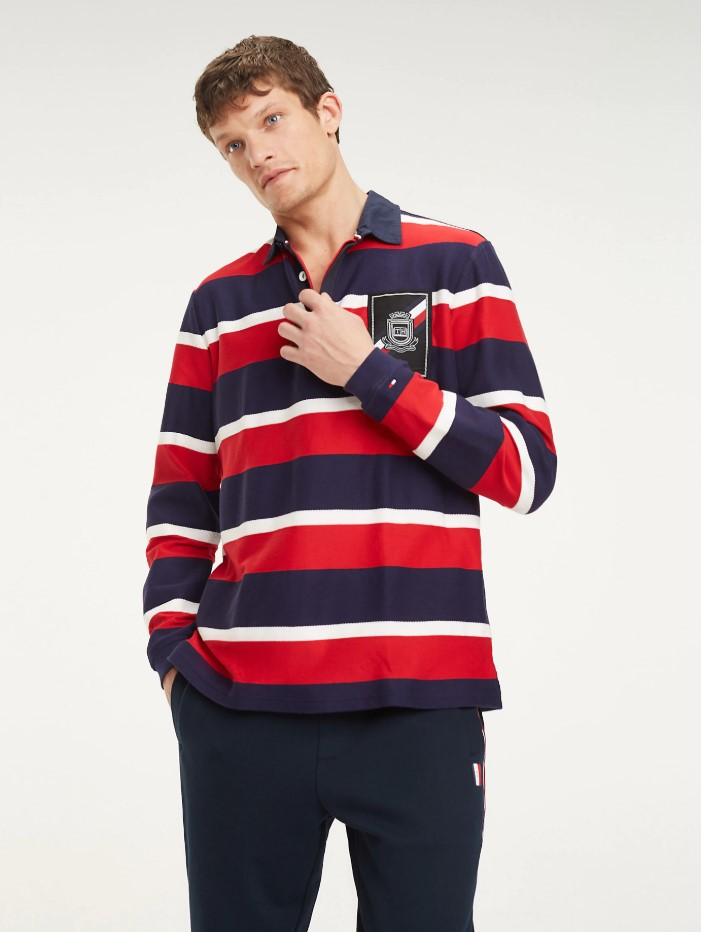 man in a striped rugby shirt, casual fashion, casual outfits, casual clothes, casual wear