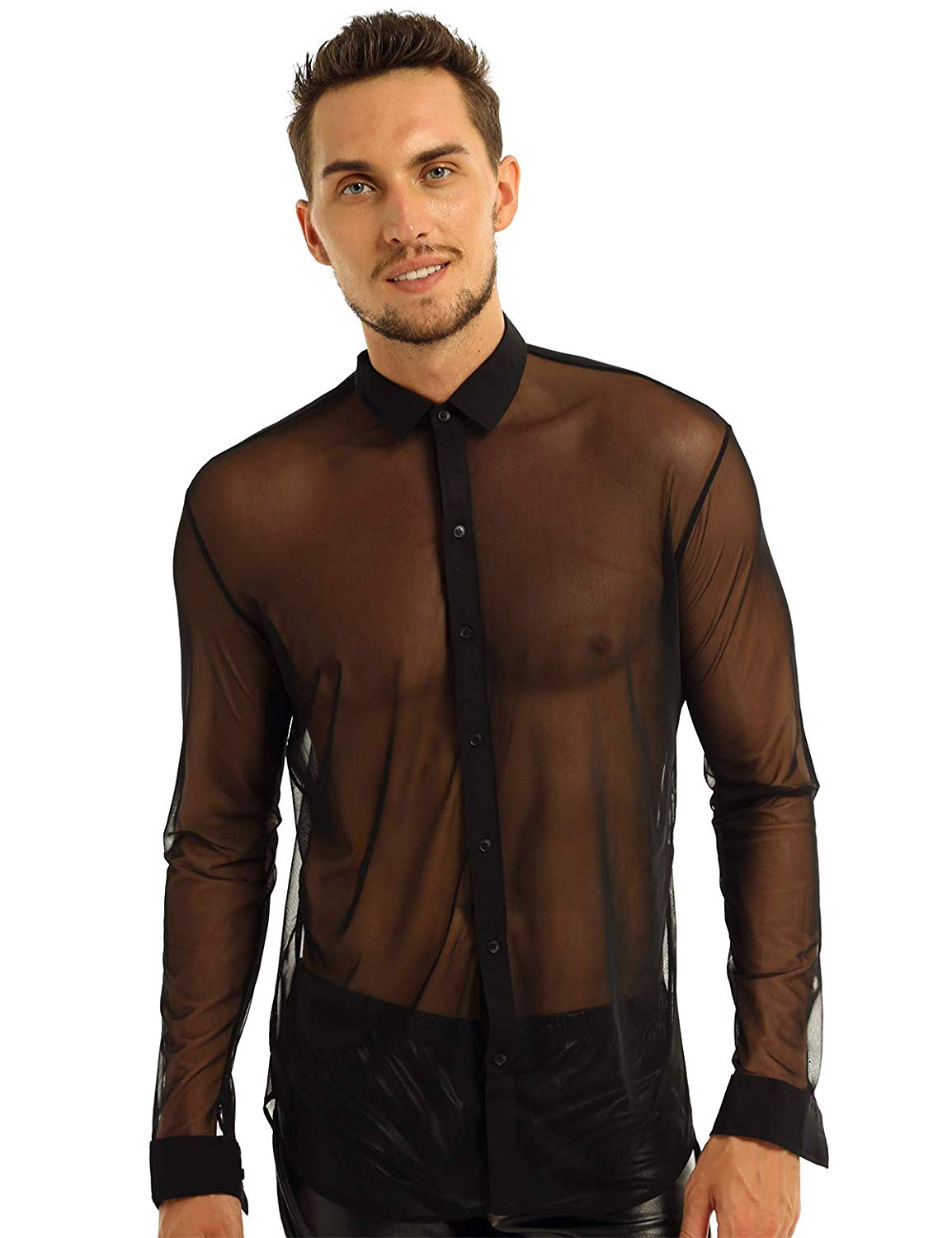 male model wearing the yizyif sheer button-down shirt, casual fashion, casual outfits, casual clothes, casual wear