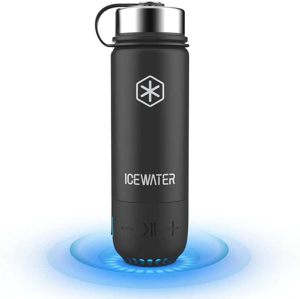 Black stainless steel water bottle from Icewater