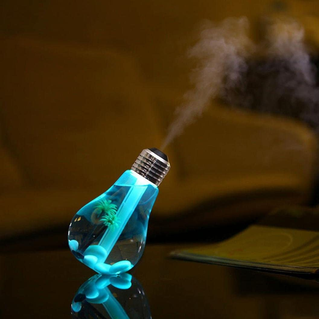 Diffuser from Highpot shaped like a lightbulb and emitting a blue light